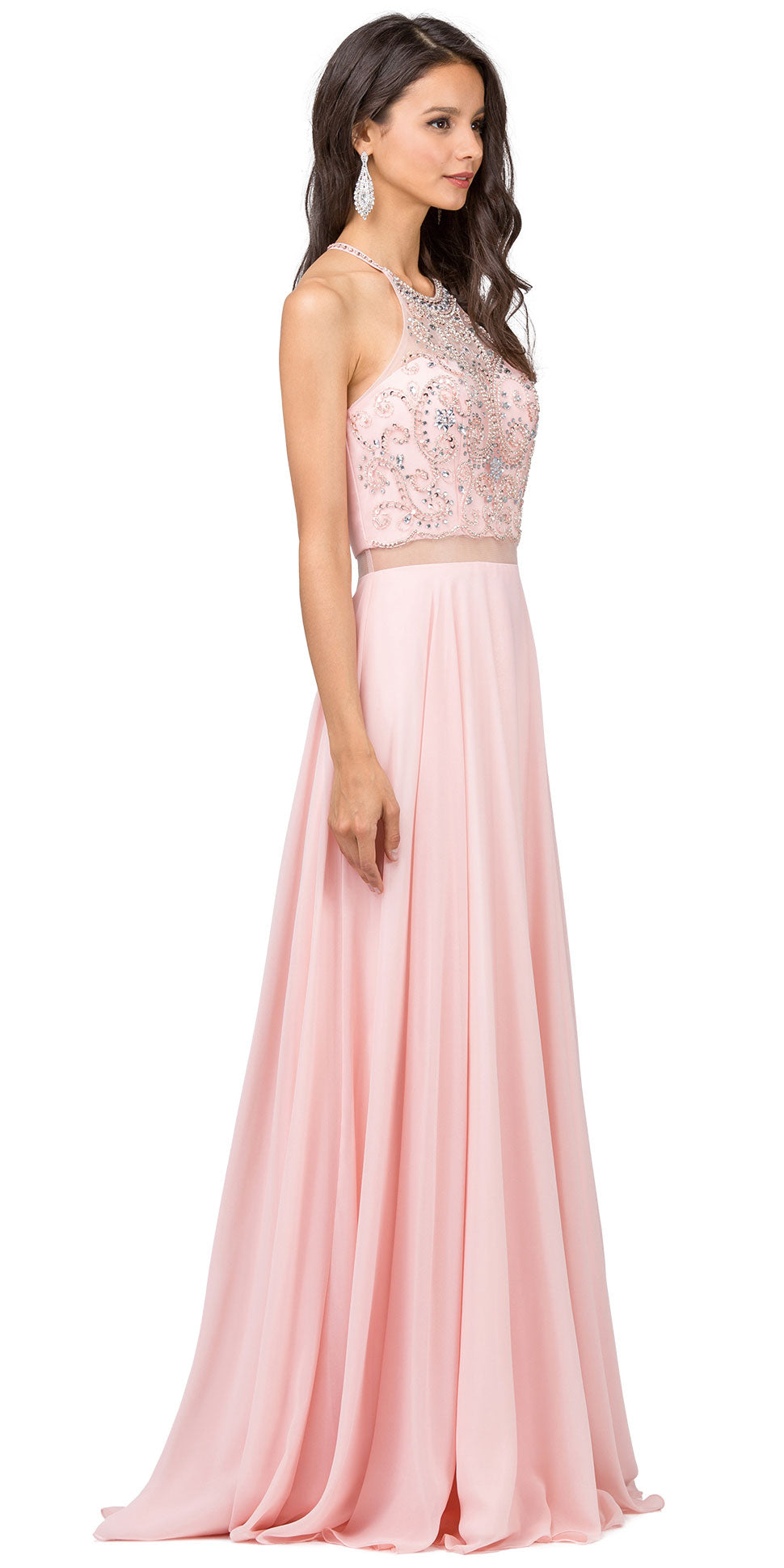 Image of A-line Rhinestones Bodice Sheer Waist Long Prom Dress in Blush