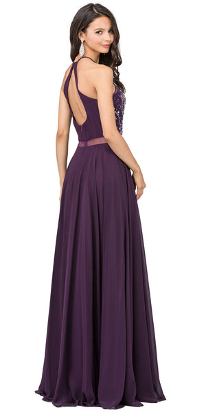 Back image of A-line Rhinestones Bodice Sheer Waist Long Prom Dress