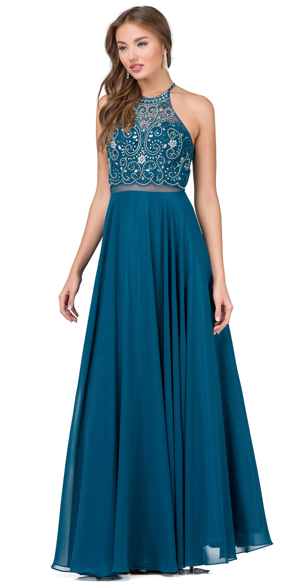 Image of A-line Rhinestones Bodice Sheer Waist Long Prom Dress in Teal