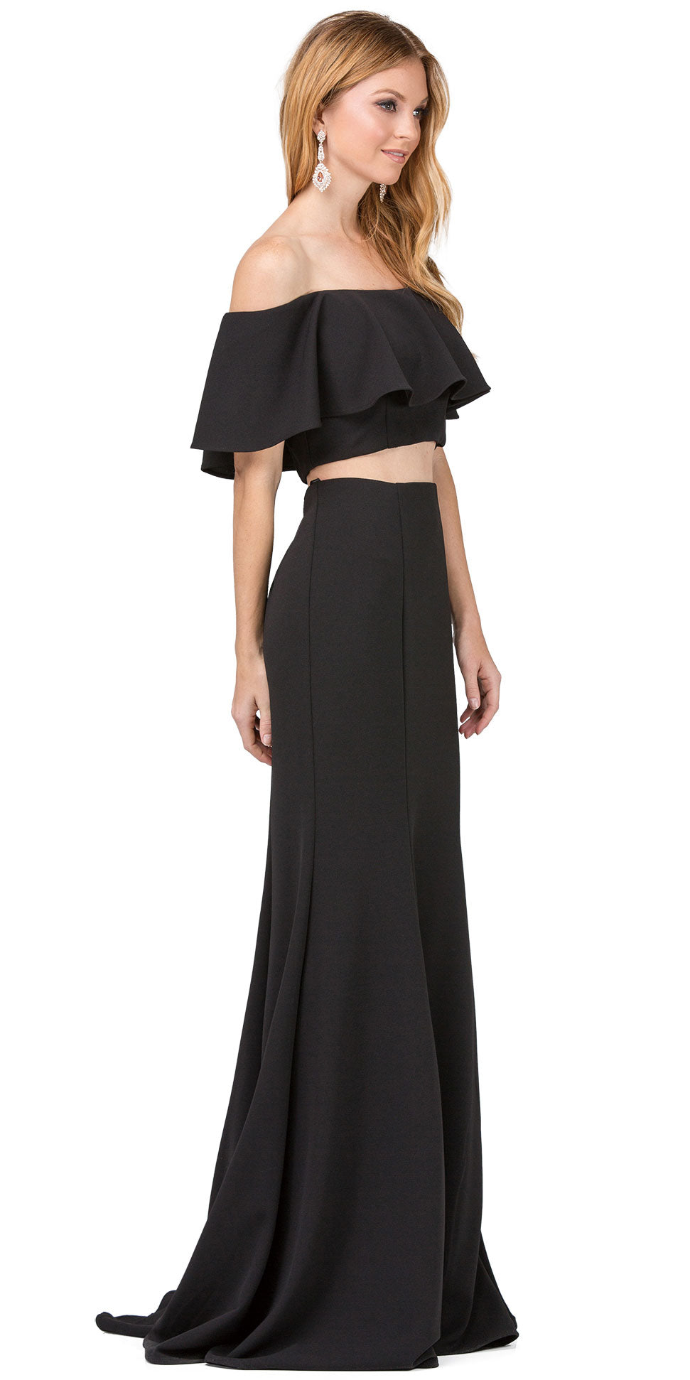 Image of Off-shoulder Flounce Top Two Piece Long Prom Dress in Black