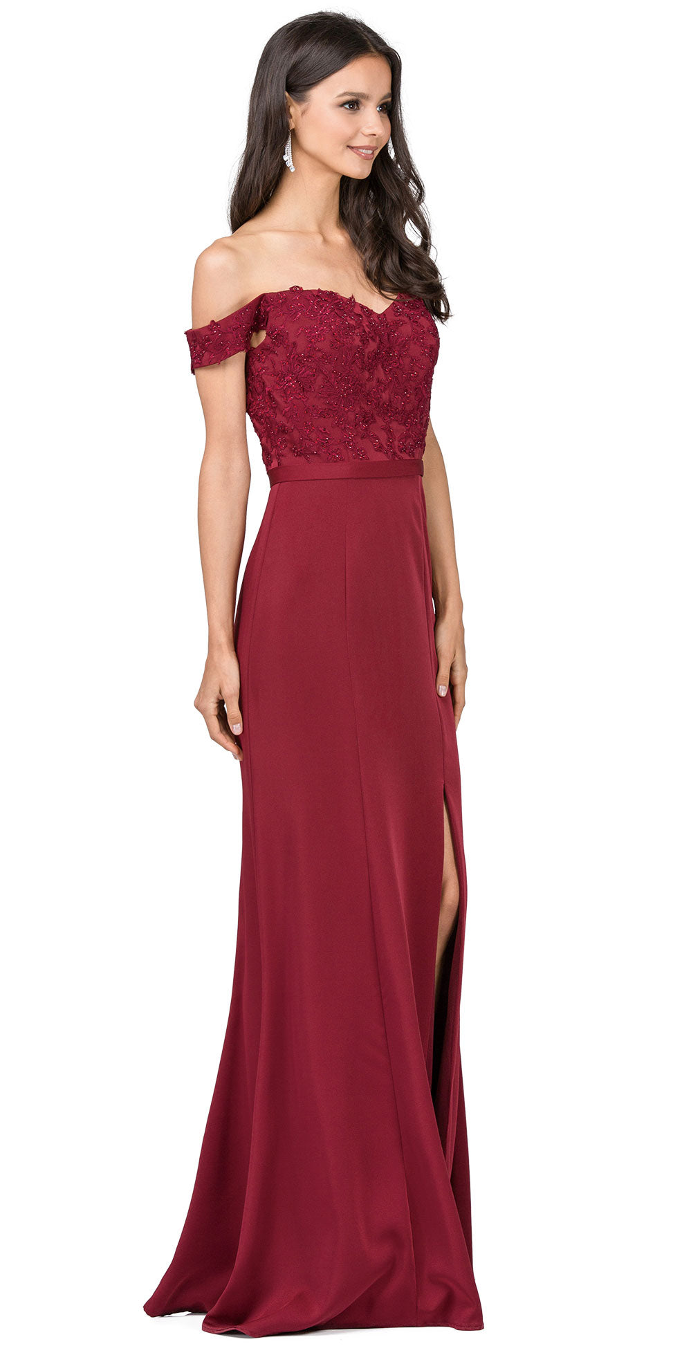 Main image of Off-the-shoulder Lace Accent Top Long Prom Dress