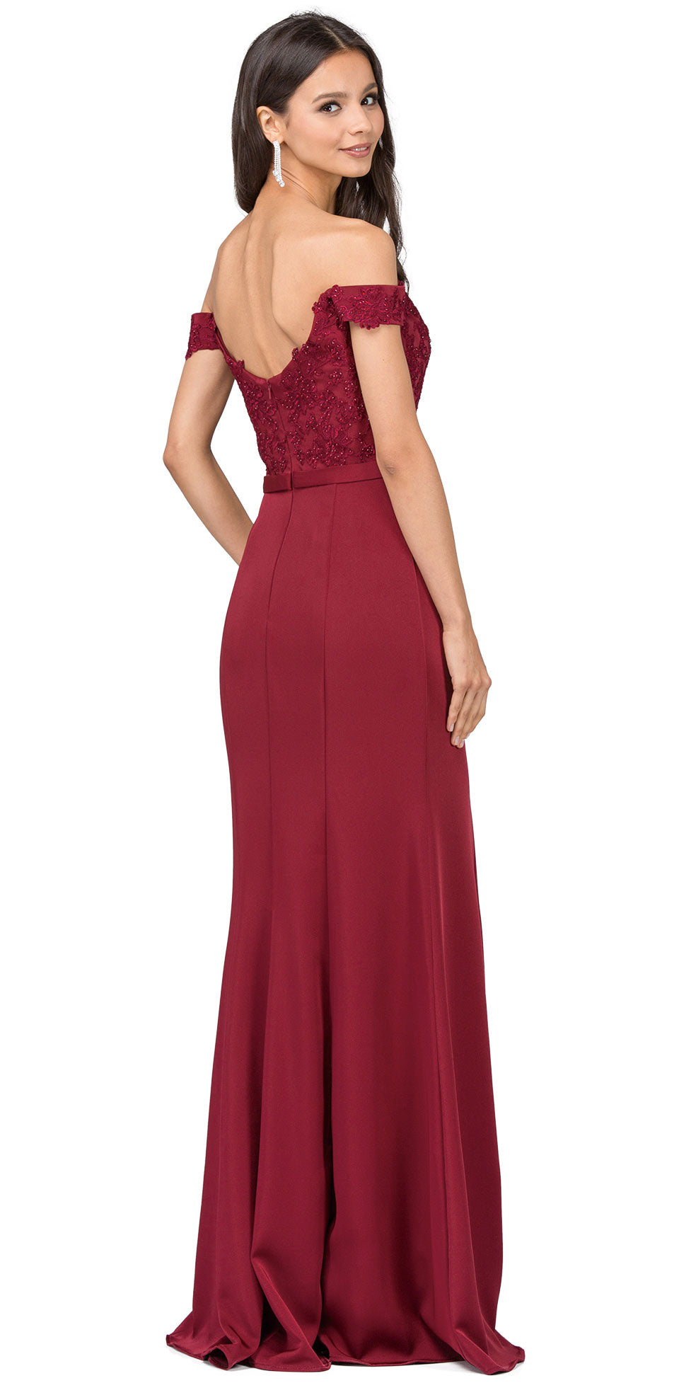 Image of Off-the-shoulder Lace Accent Top Long Prom Dress back in burgundy