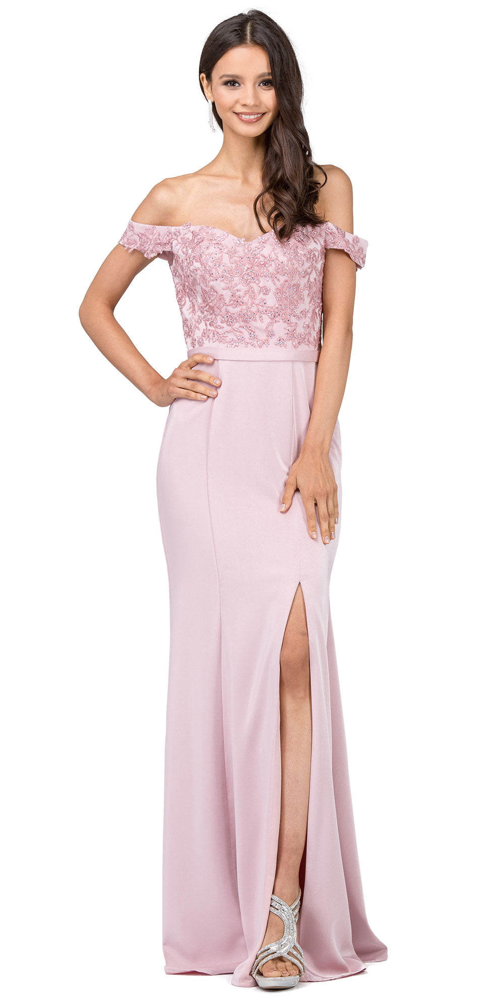 Image of Off-the-shoulder Lace Accent Top Long Prom Dress in Dusty Pink