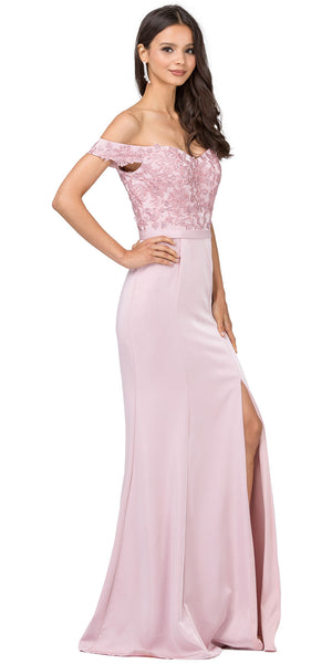 Image of Off-the-shoulder Lace Accent Top Long Prom Dress in an alternative image