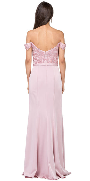 Back image of Off-the-shoulder Lace Accent Top Long Prom Dress