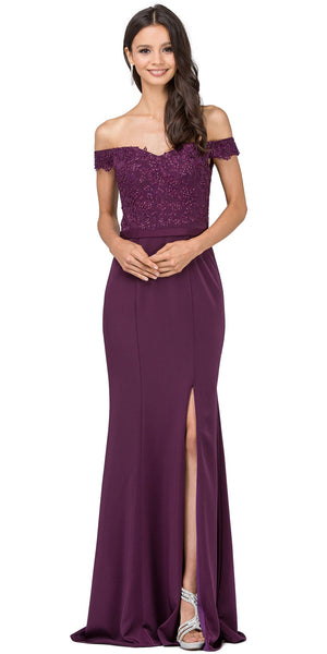 Image of Off-the-shoulder Lace Accent Top Long Prom Dress in Plum