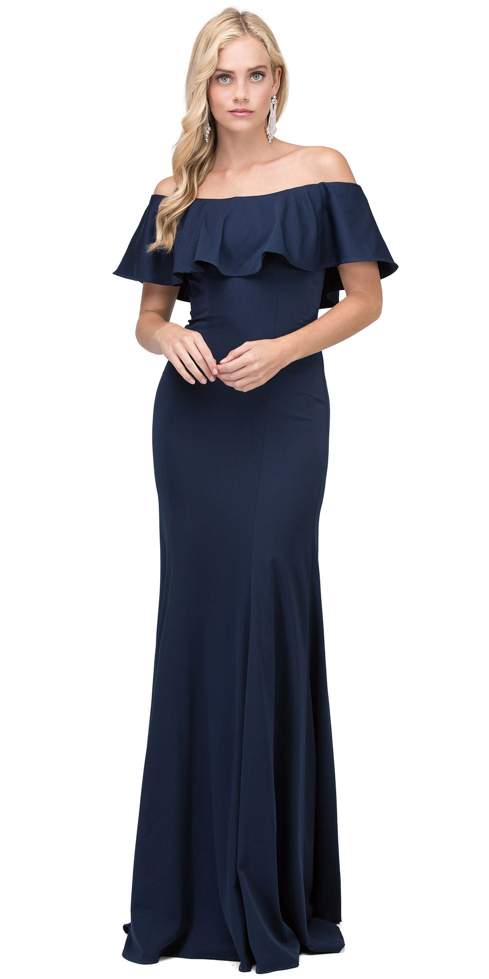 Image of Ruffled Off-the-shoulder Princess Cut Long Prom Dress in Navy