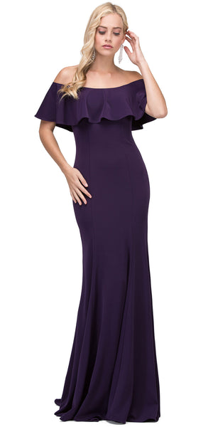 Image of Ruffled Off-the-shoulder Princess Cut Long Prom Dress in Plum