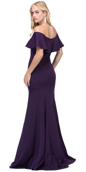 Image of Ruffled Off-the-shoulder Princess Cut Long Prom Dress back in Plum