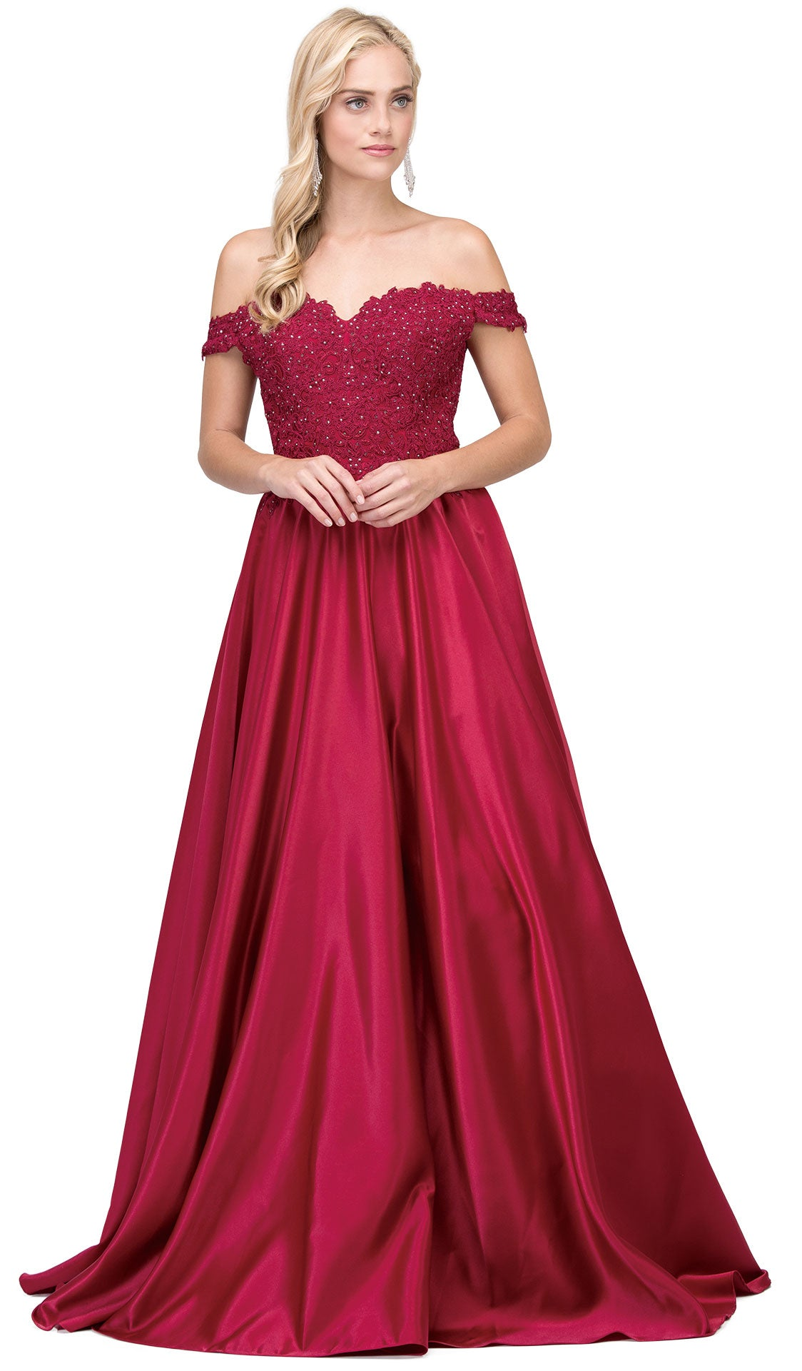 Image of Sweetheart Off-the-shoulder Lace Bust Long Prom Dress in Burgundy