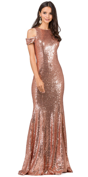 Image of Cold Shoulder Keyhole Back Sequin Long Prom Dress in Rose Gold