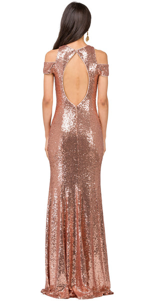 Image of Cold Shoulder Keyhole Back Sequin Long Prom Dress back in Rose Gold