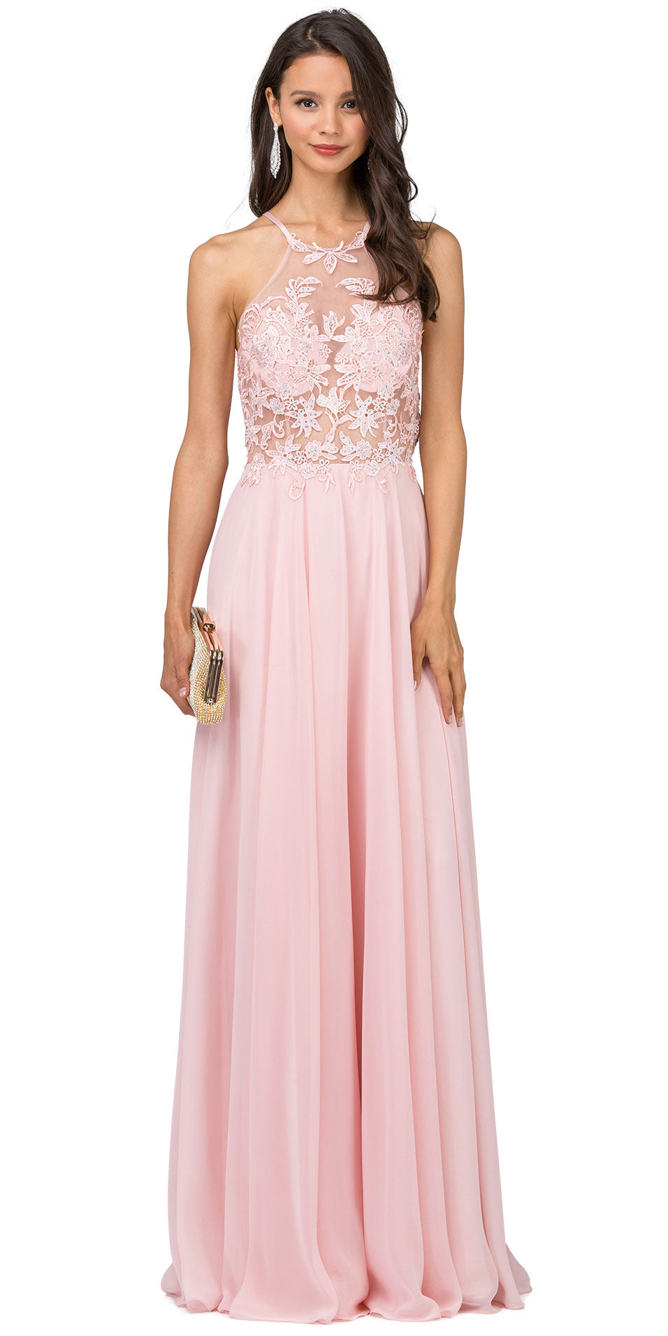 Image of Lace Accent Sheer Mesh Top Chiffon Long Prom Dress in Blush