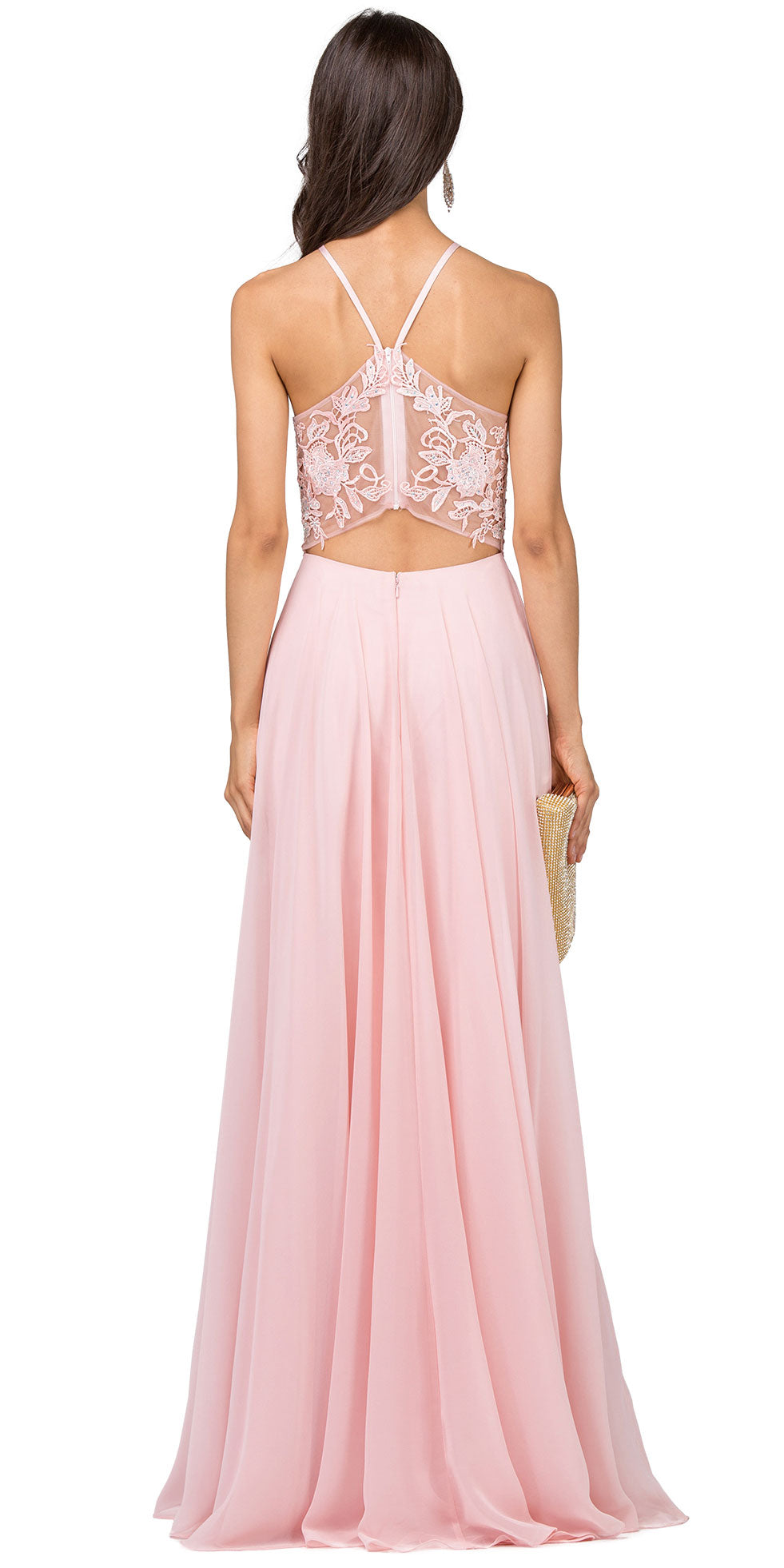 Back image of Lace Accent Sheer Mesh Top Chiffon Long Prom Dress