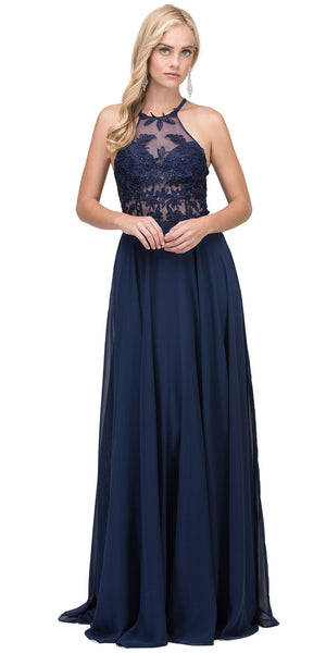 Image of Lace Accent Sheer Mesh Top Chiffon Long Prom Dress in Navy