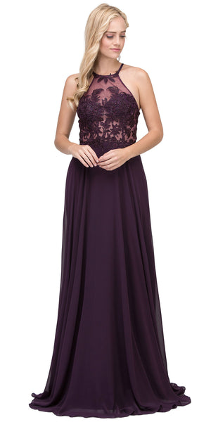 Main image of Lace Accent Sheer Mesh Top Chiffon Long Prom Dress