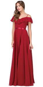 Image of Cold Shoulder Frill Top Ribbon Waist Long Bridesmaid Dress in Burgundy