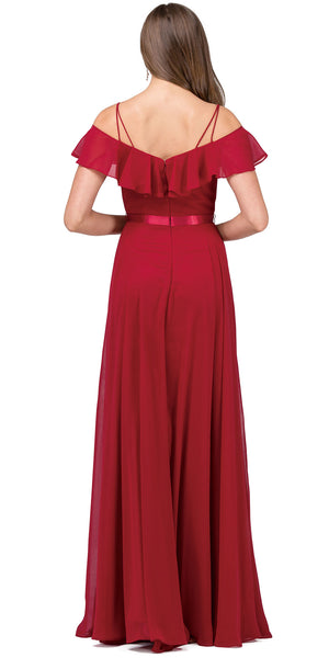 Back image of Cold Shoulder Frill Top Ribbon Waist Long Bridesmaid Dress