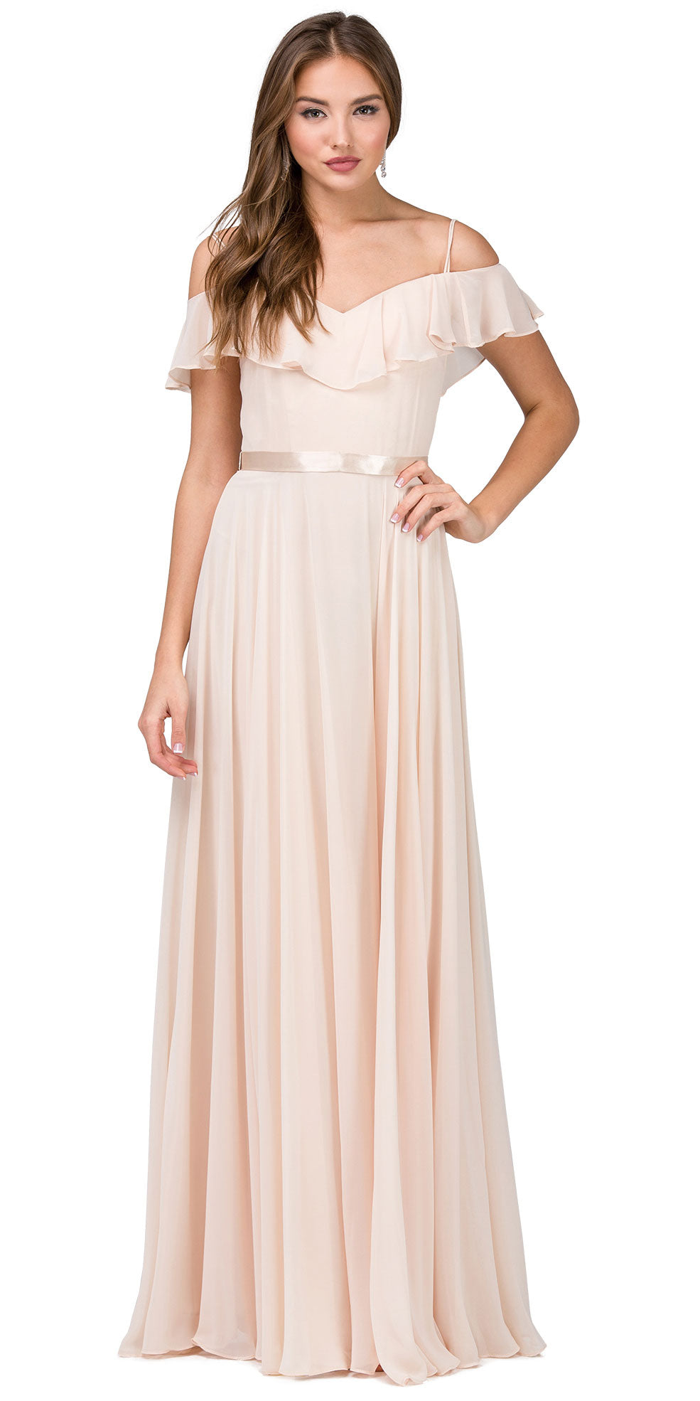 Main image of Cold Shoulder Frill Top Ribbon Waist Long Bridesmaid Dress