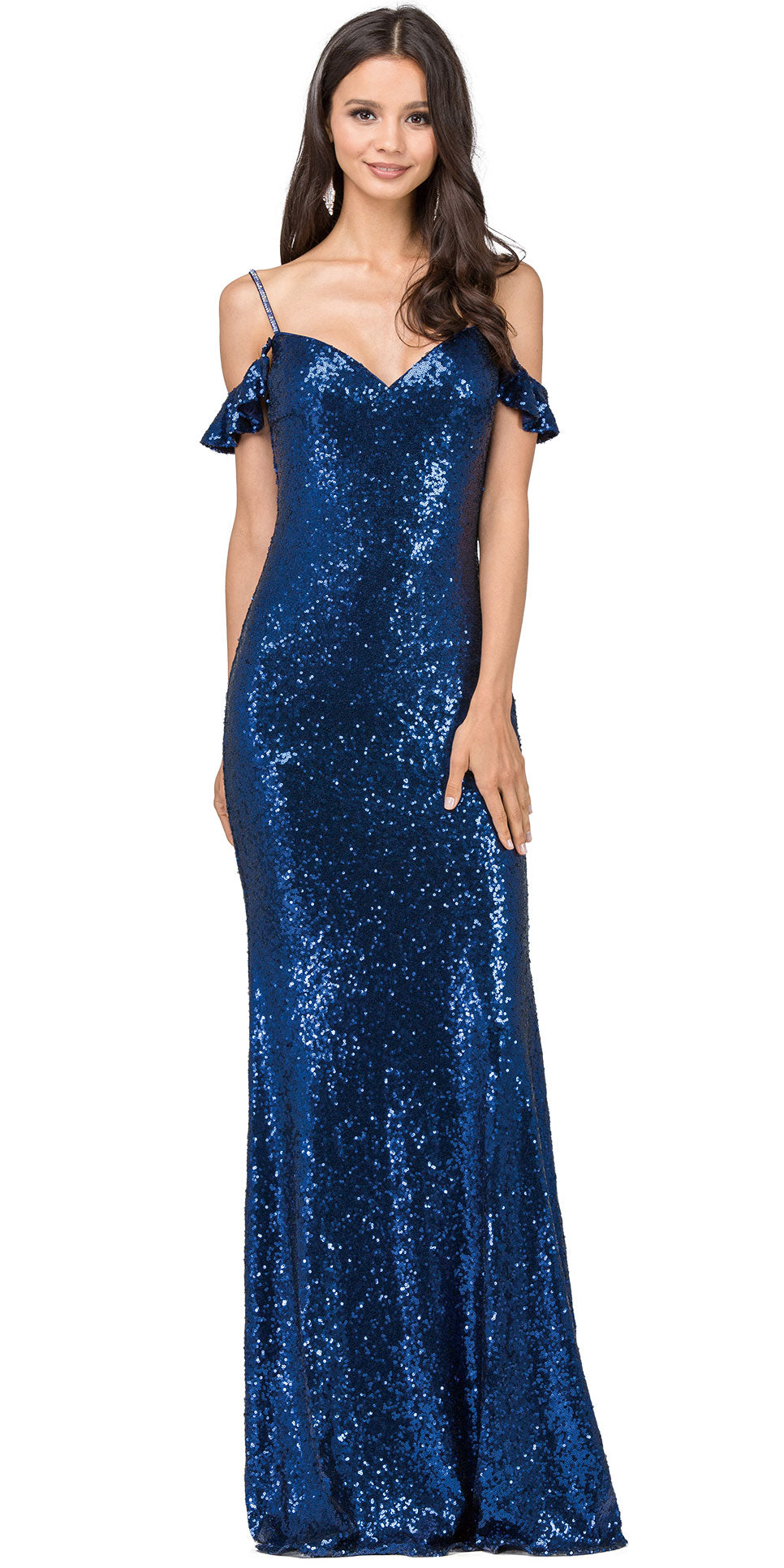 Main image of Cold Shoulder Sweetheart Neck Long Sequins Prom Dress