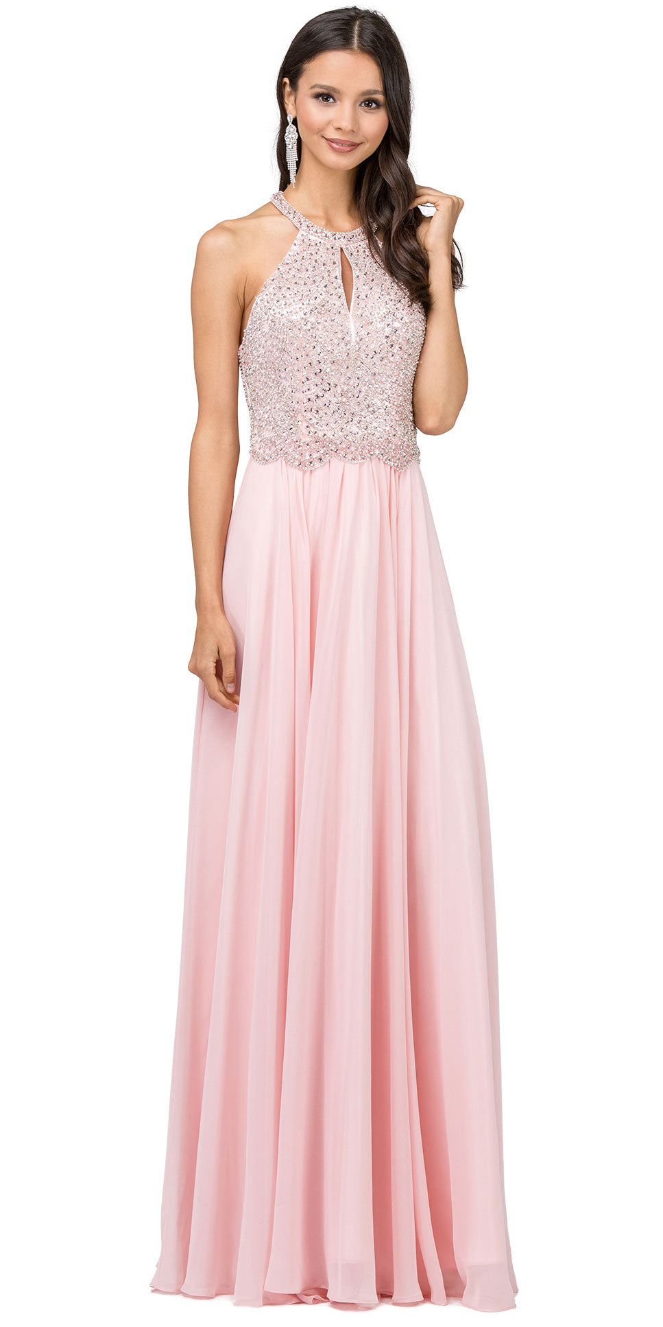 Image of Embellished Bodice & Back Straps Long Prom Dress in Blush