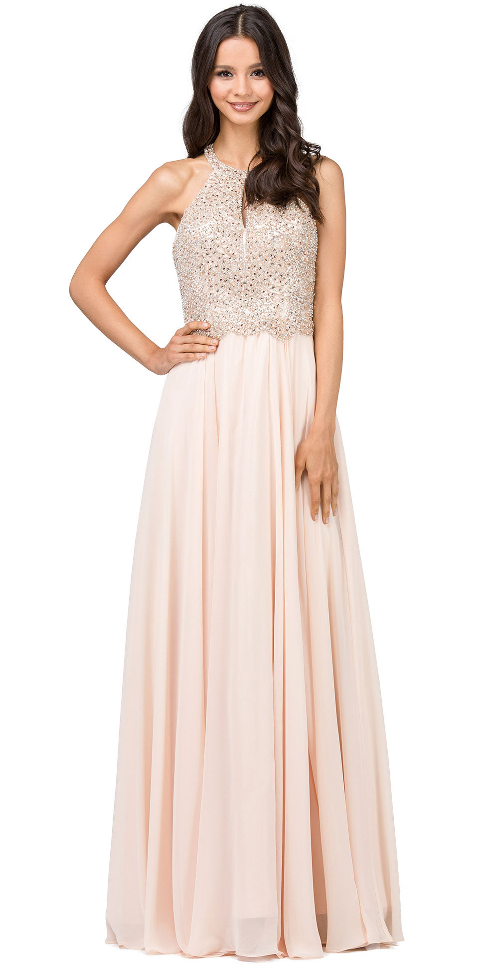 Image of Embellished Bodice & Back Straps Long Prom Dress in Champaign