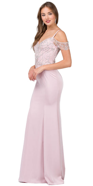 Image of Rhinestones Bust Hanging Sleeves Long Prom Dress. in an alternative image