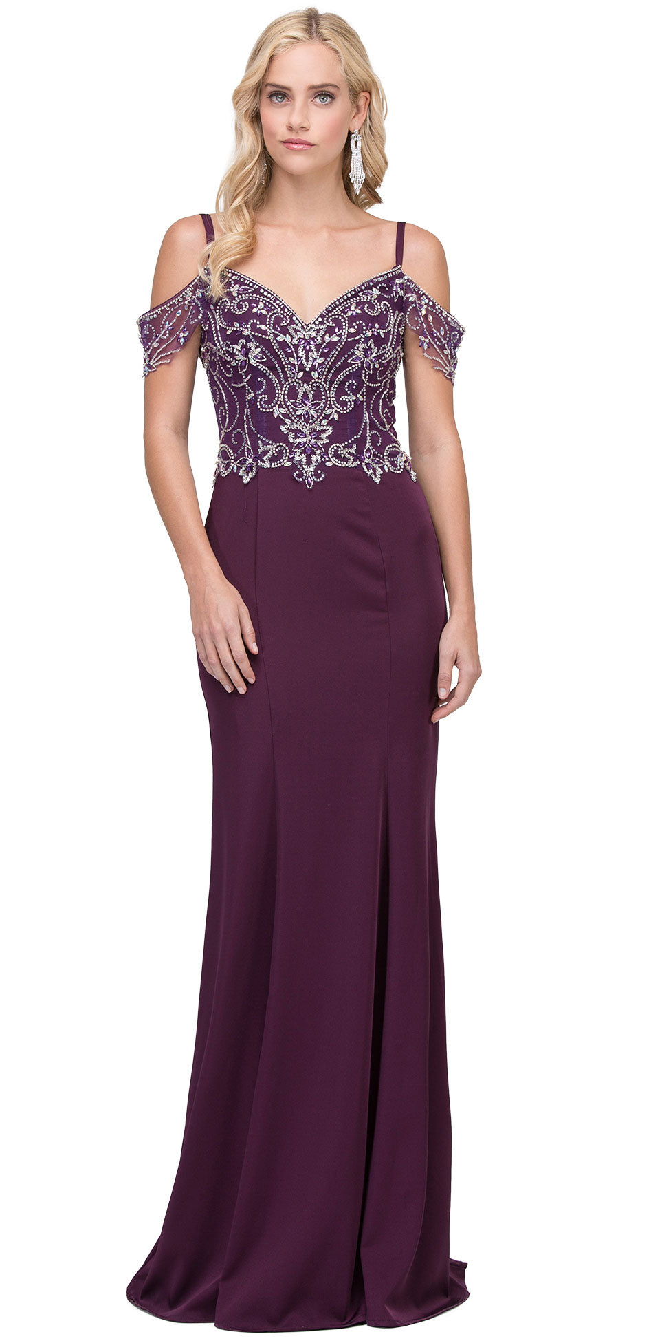 Main image of Rhinestones Bust Hanging Sleeves Long Prom Dress.
