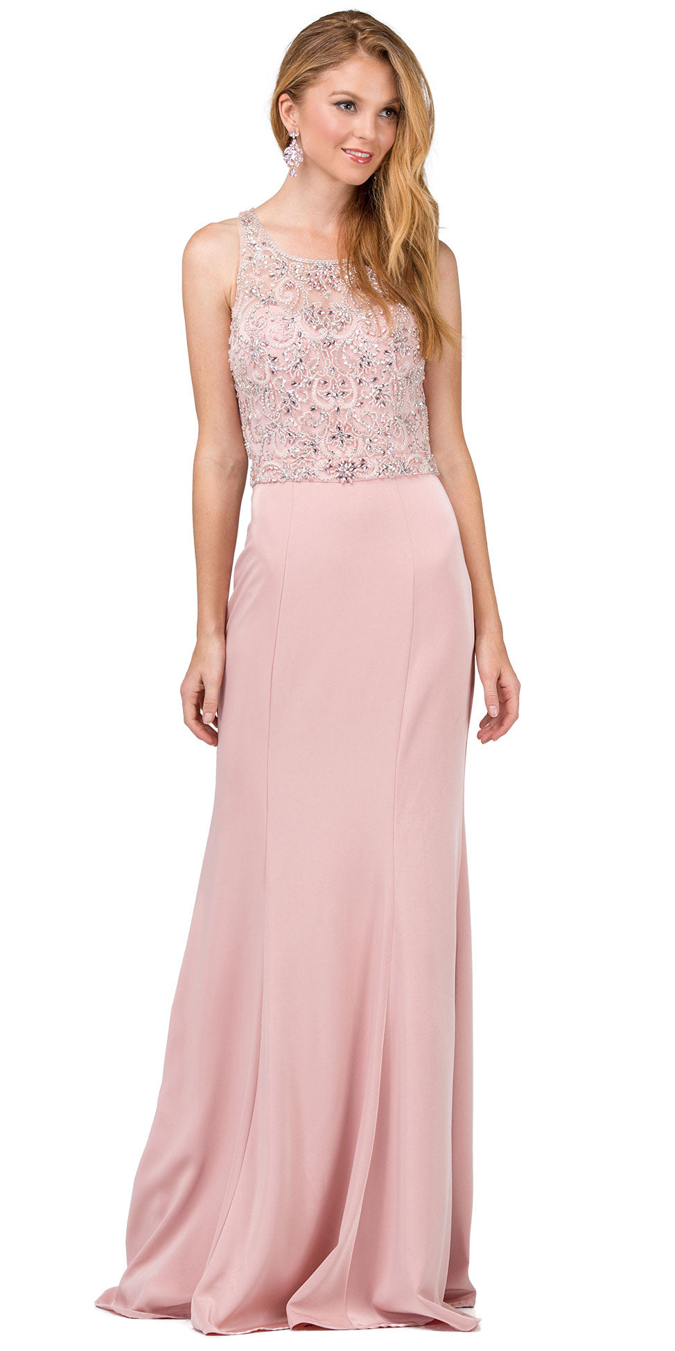 Image of Bejeweled Bodice Round Neck Sleeveless Long Prom Dress in Dusty Pink