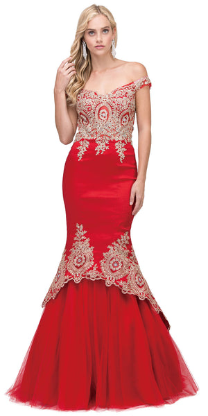 Image of Lace Embellished Bodice Tulle Skirt Long Prom Dress in Red