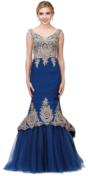 Image of Lace Embellished Bodice Tulle Skirt Long Prom Dress in Royal Blue
