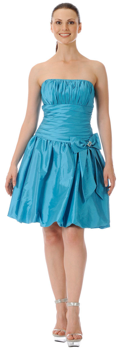 Main image of Short Shirred Ribbon Party Dress
