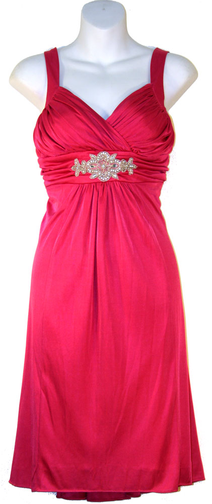 Image of Ruched Overlap Bust Short Formal Party Dress in Fuchsia