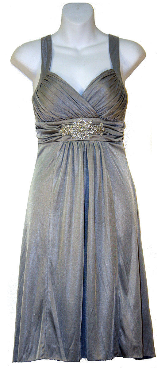 Image of Ruched Overlap Bust Short Formal Party Dress in Silver color