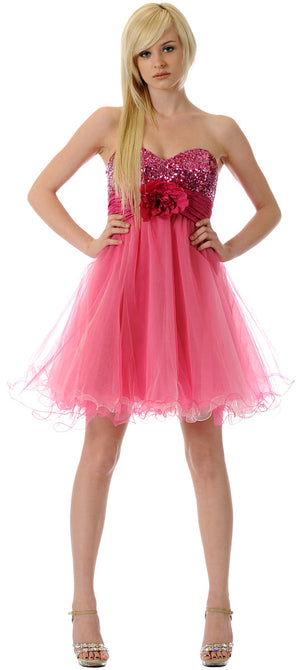 Image of Strapless Flowered Waistline Sequin Party Dress in Fuchsia