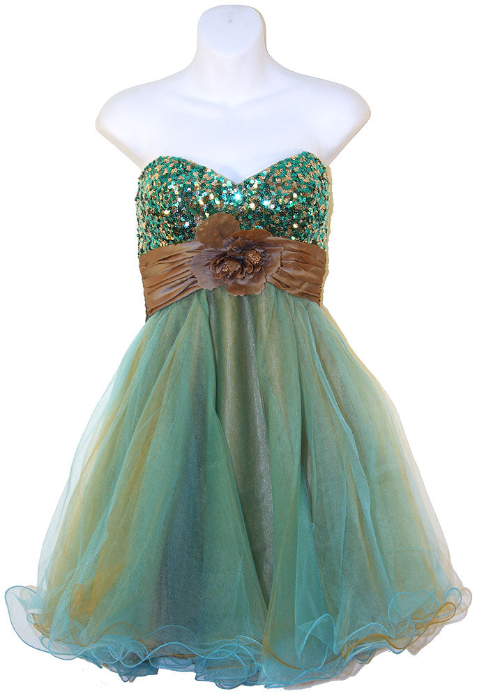 Image of Strapless Flowered Waistline Sequin Party Dress in Turquoise/Brown