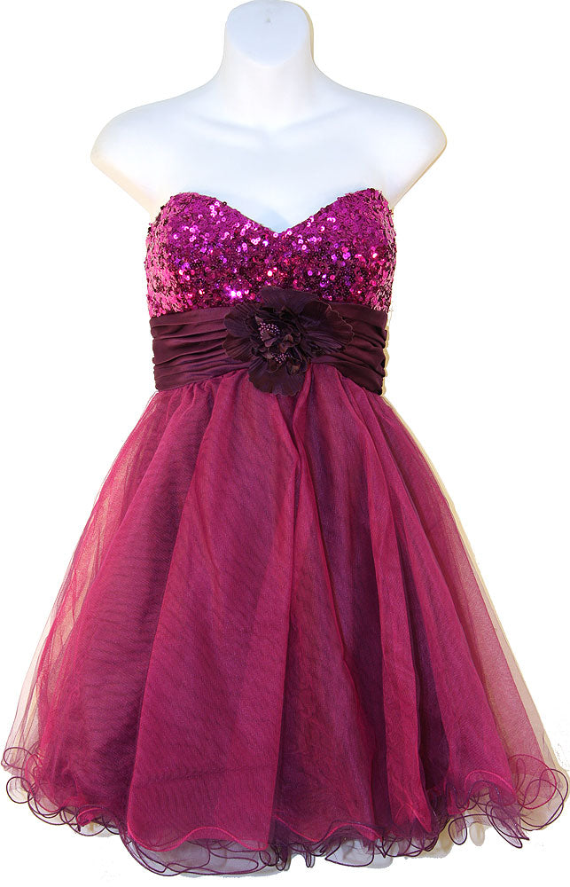 Image of Strapless Flowered Waistline Sequin Party Dress in Plum color