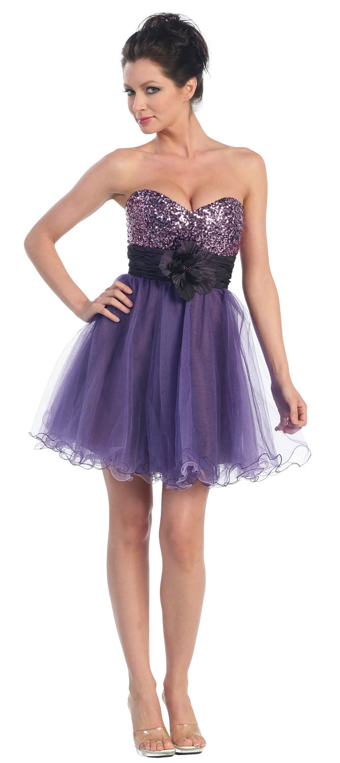 Main image of Strapless Flowered Waistline Sequin Party Dress