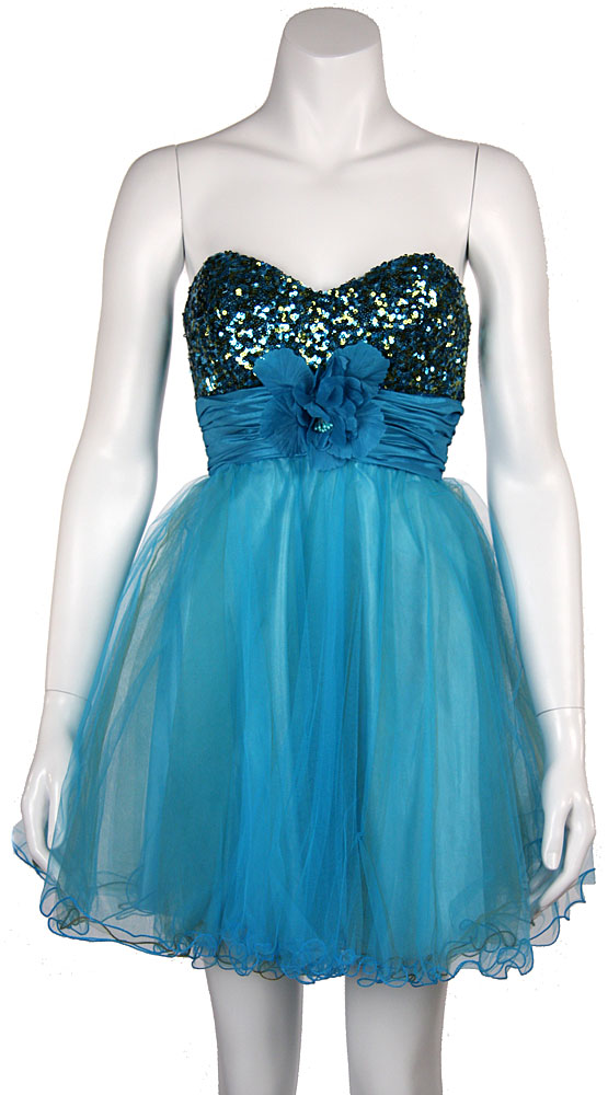 Image of Strapless Flowered Waistline Sequin Party Dress in Turquoise/Olive Green