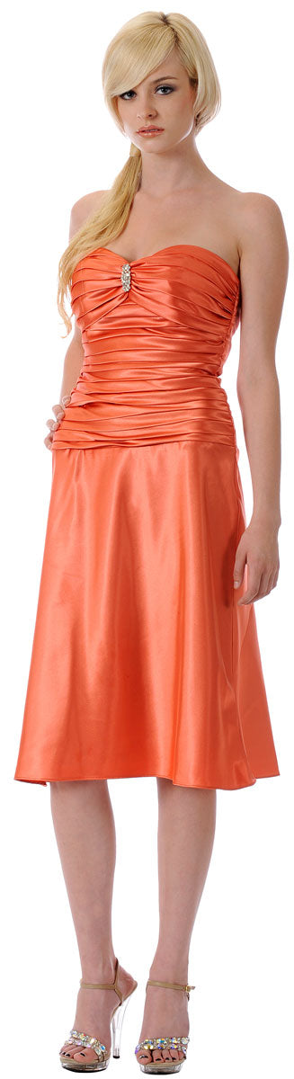Main image of Strapless Rouched Bodice Party Dress