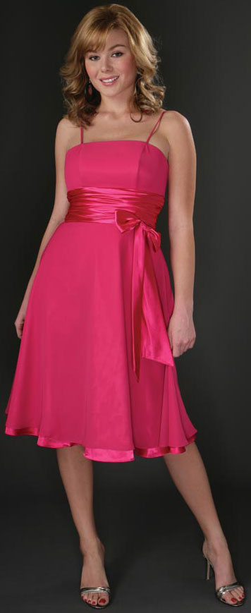 Main image of Spaghetti Ribbon Bow Formal Party Dress