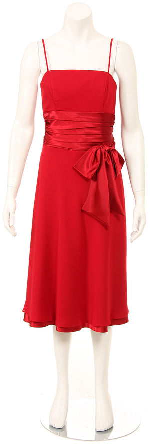 Image of Spaghetti Ribbon Bow Formal Party Dress in Red