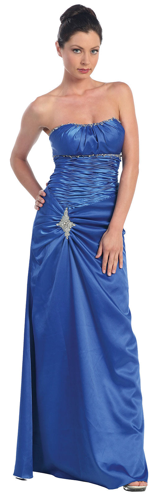 Image of Ruched Bejeweled Fitted Formal Evening Dress in Royal Blue