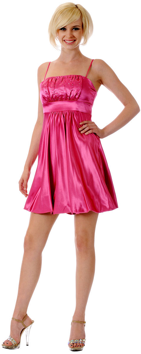 Main image of Spaghetti Straps Ruched Bust Short Party Dress