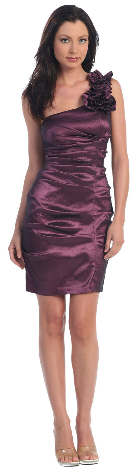 Image of Single Shoulder Form Fittingruched Party Dress in Eggplant