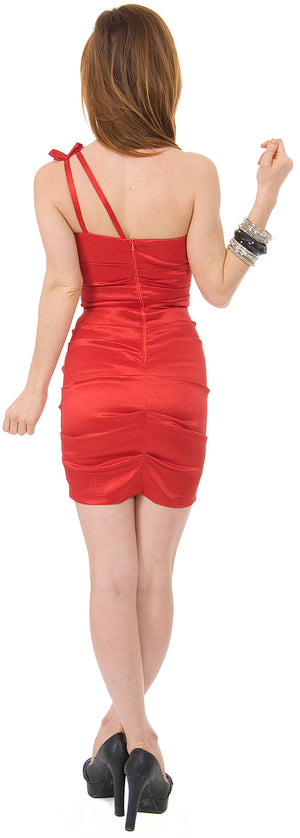 Back image of Single Shoulder Form Fittingruched Party Dress