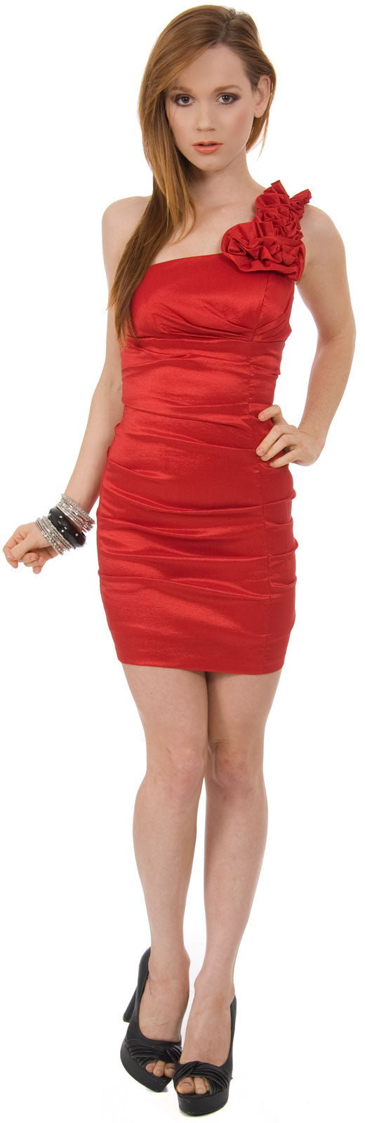 Main image of Single Shoulder Form Fittingruched Party Dress