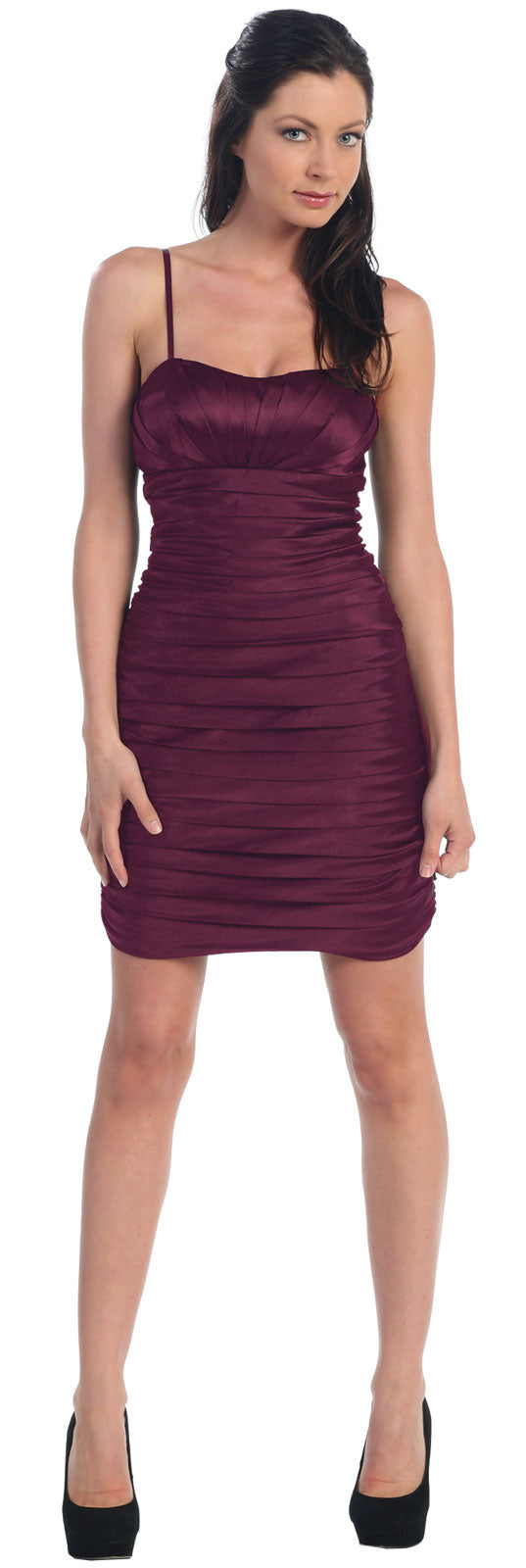 Main image of Spaghetti Straps Pleated Short Party Dress