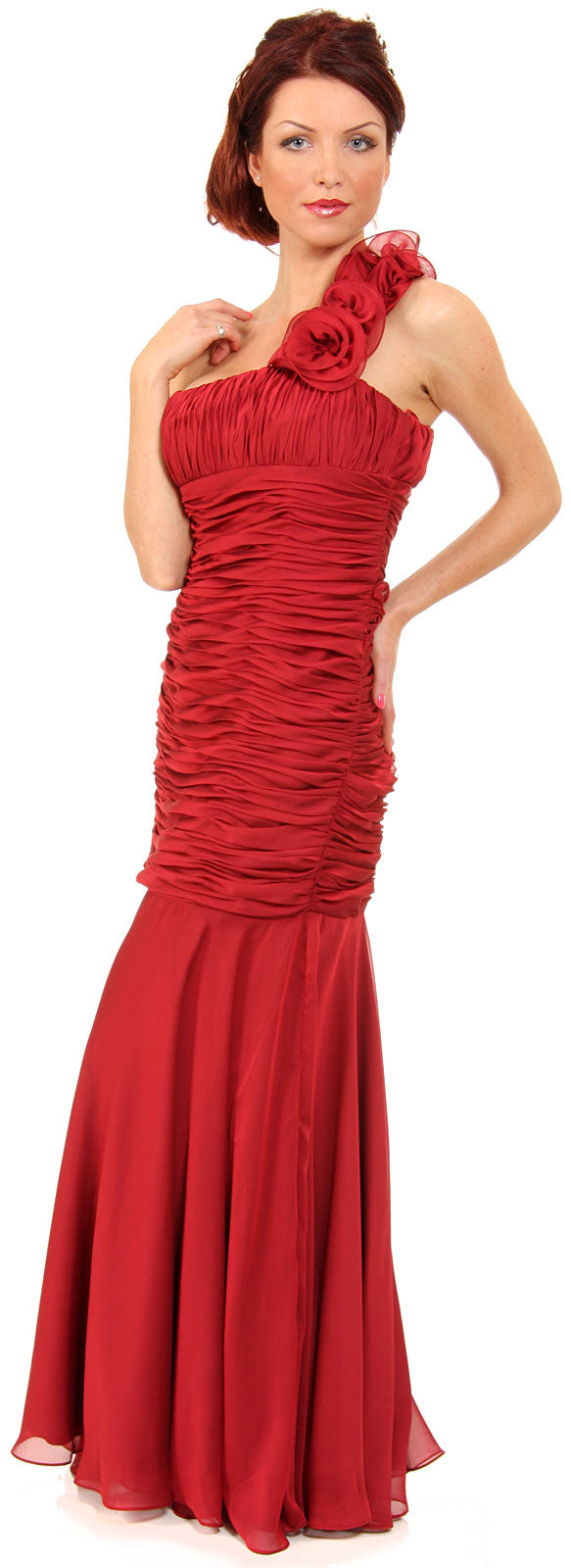 Main image of Shirred Single Shoulder Formal Evening Dress