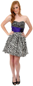 Main image of Strapless Sequined Zebra Print Short Cocktail Dress